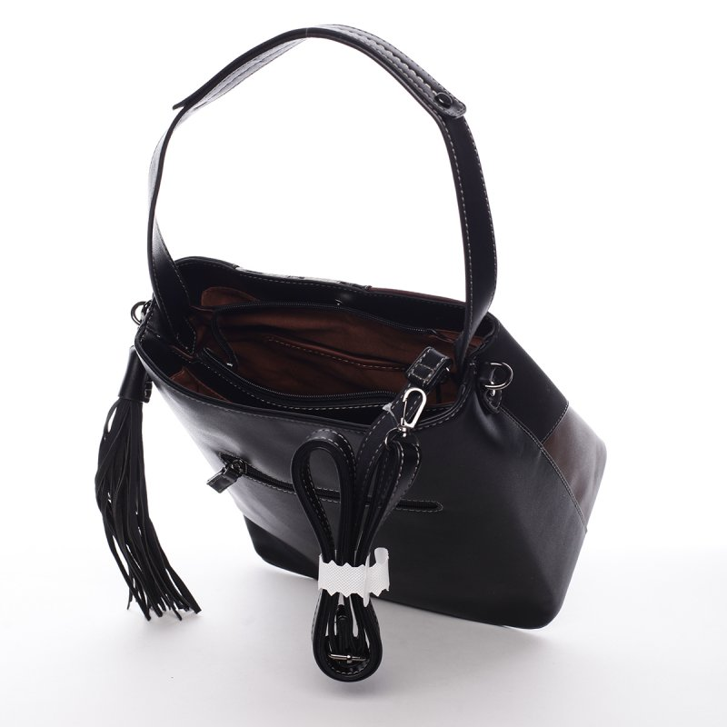 Hravá dámská koženková kabelka Apollonia černá