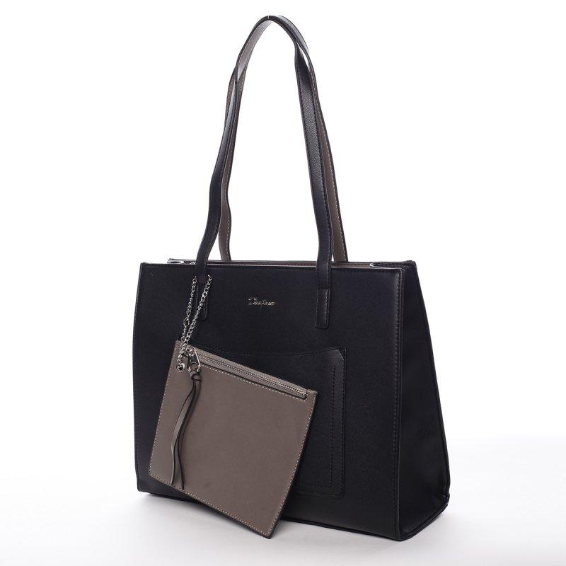 Módní koženkový shopper Eulalia černá