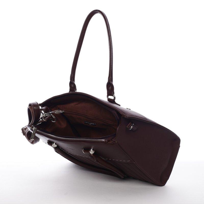 Luxusní dámský koženkový kufřík Rosina vínová