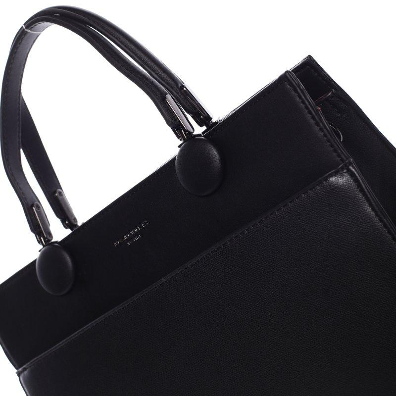 Módní velká dámská koženková kabelka Sisto černá