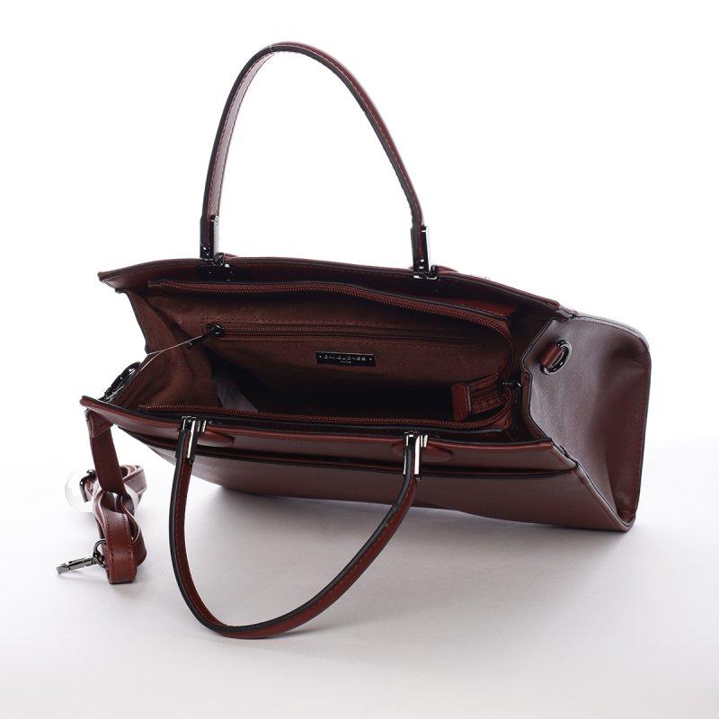 Módní velká dámská koženková kabelka Sisto vínová