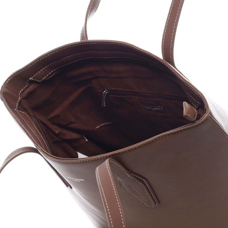 Pohodlná velká dámská taška na rameno Beda hnědá