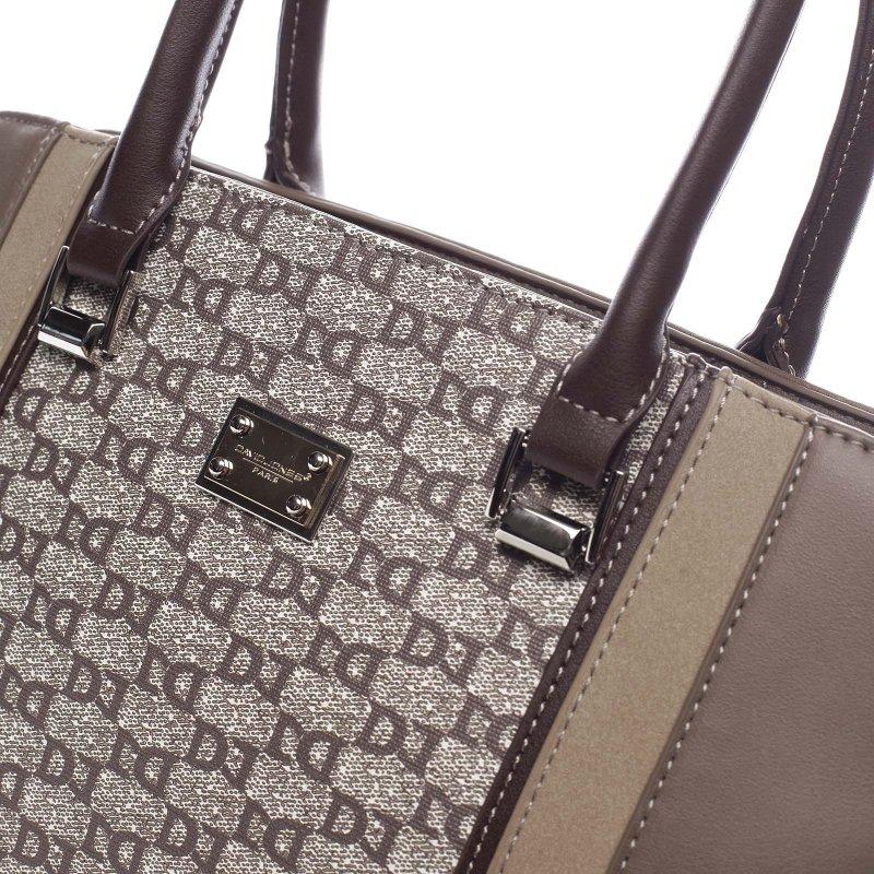 Módní dámská koženková kabelka Domenico tmavá béžová