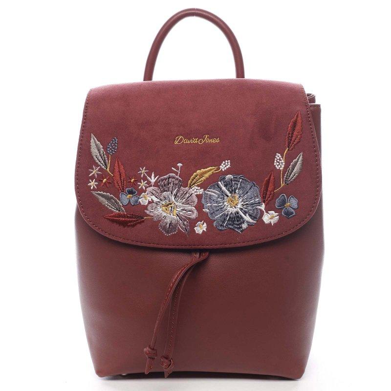 Květovaný dámský batůžek Sigismondo vínová
