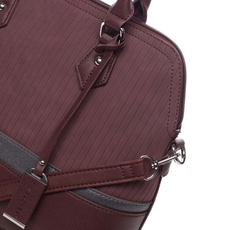 Kombinovaný dámský kožený kufřík Valeria vínová