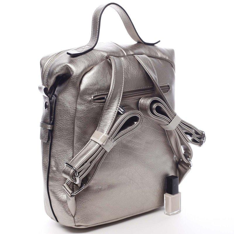 Módní koženkový batoh Adriano stříbrná