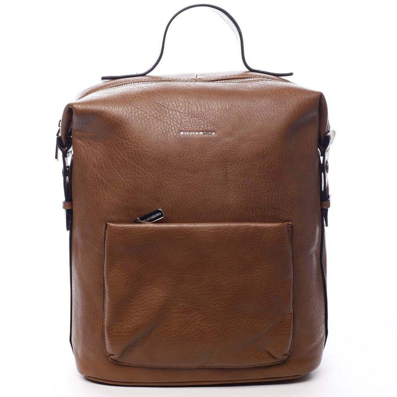 Módní koženkový batoh Adriano hnědá