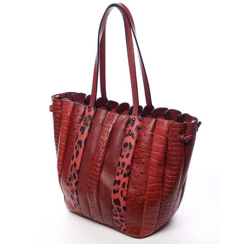 Extravagantní dámská prostorná taška Silverio červená