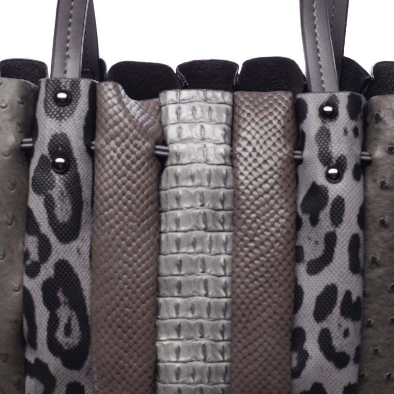 Extravagantní dámská prostorná taška Silverio šedá