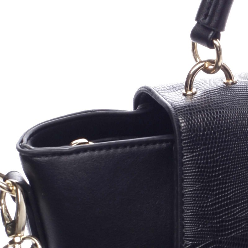 Zajímavá dámská koženková kabelka s klopou Erasmo černá