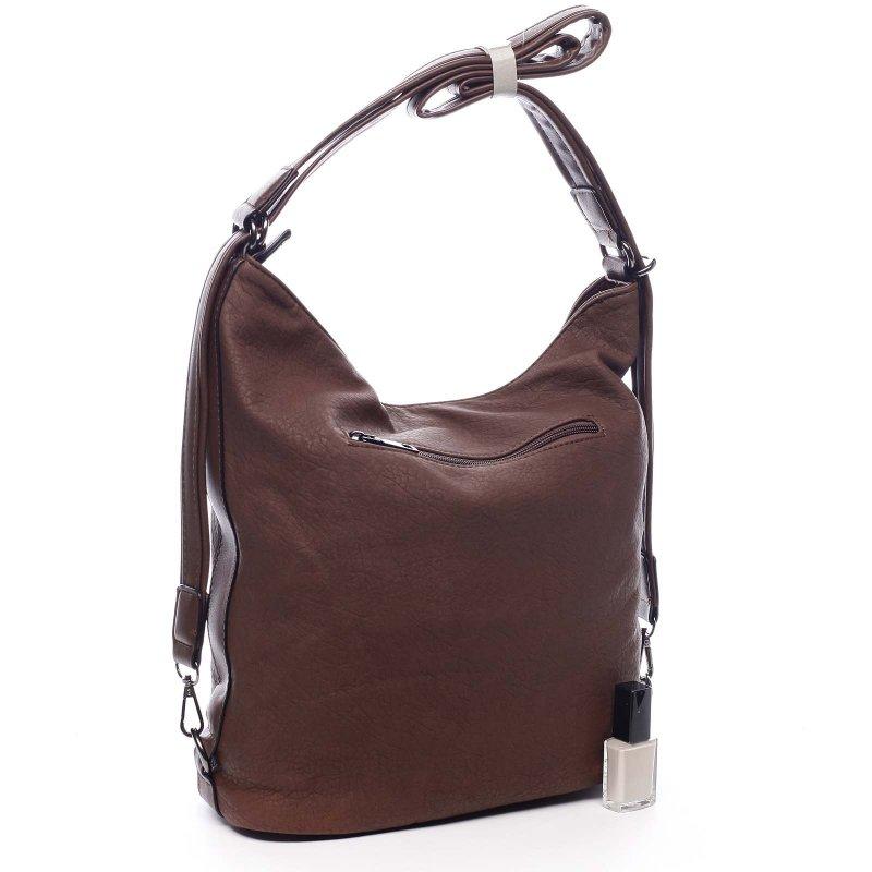 Dámská koženková kabelka/batoh Clotilde tmavě hnědá