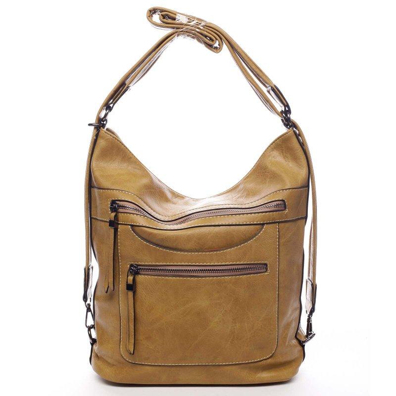 Dámská koženková kabelka/batoh Bonifaco žlutá