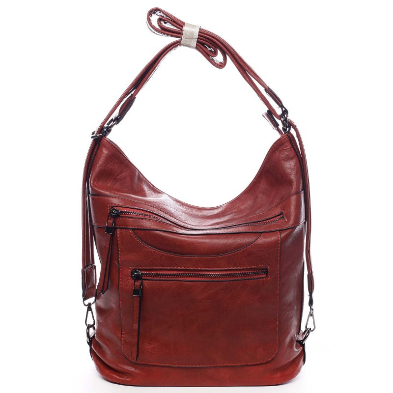 Dámská koženková kabelka/batoh Bonifaco červená