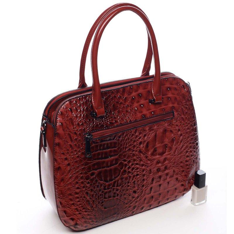 Pevný lakový kufřík v croco provedení Sabiniano červená
