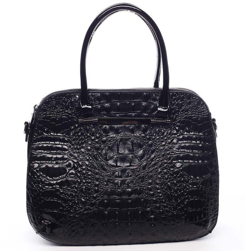 Pevný lakový kufřík v croco provedení Sabiniano černá
