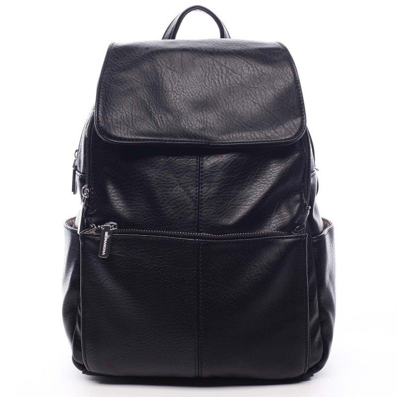 Větší koženkový batoh Barnata černá