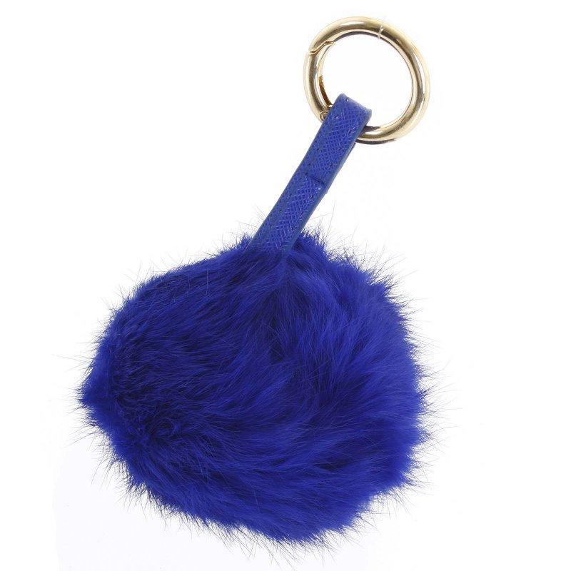 Přívěsek na kabelku chlupatá koule Annora modrá