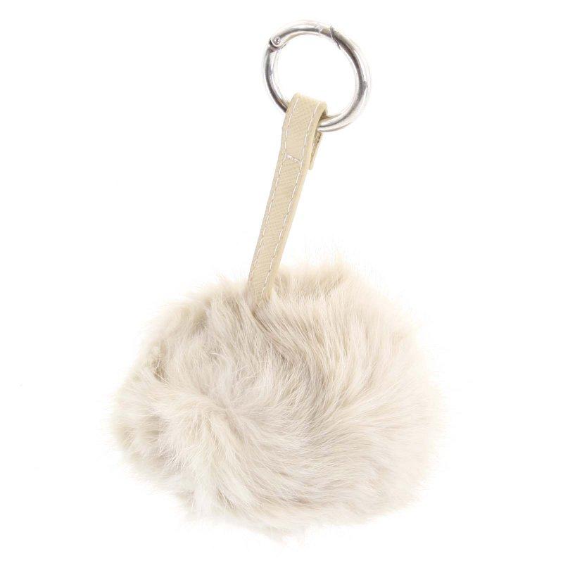 Přívěsek na kabelku chlupatá koule Annora béžová