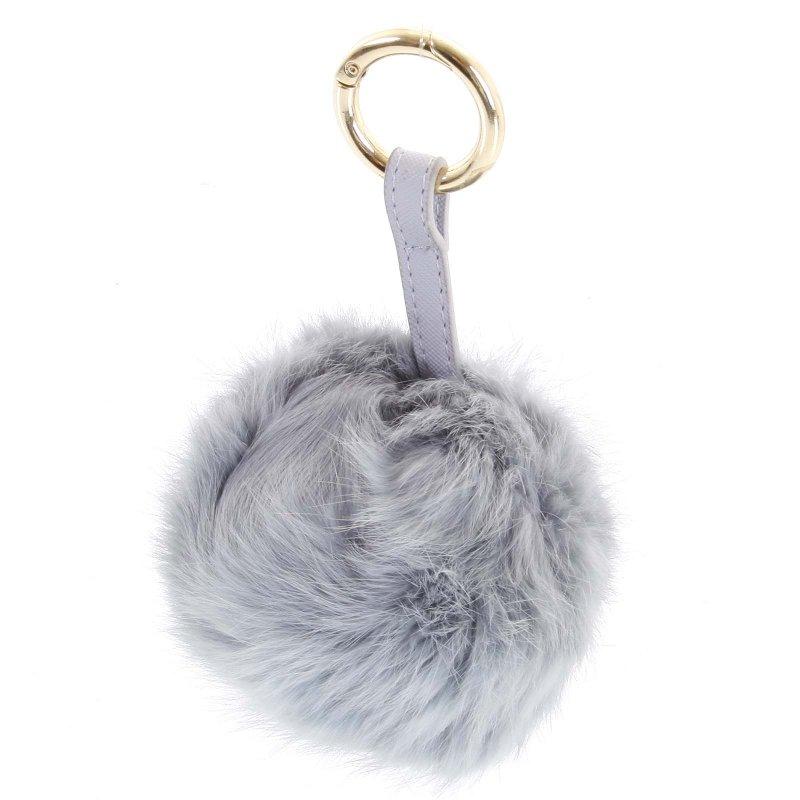 Přívěsek na kabelku chlupatá koule Annora světle šedá