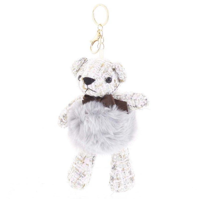 Přívěsek na klíče či kabelku medvídek Derby šedá