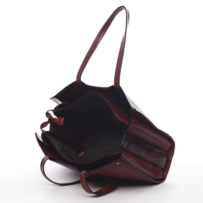 Velká praktická dámská kabelka Rémi Peirre Cardin vínová