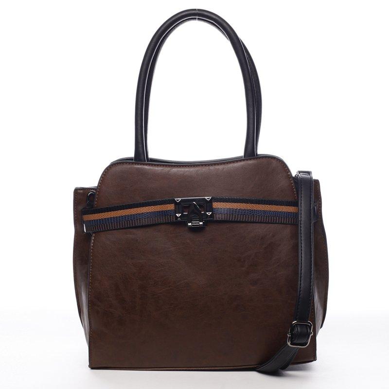 Pevná dámská módní taška Ella hnědá