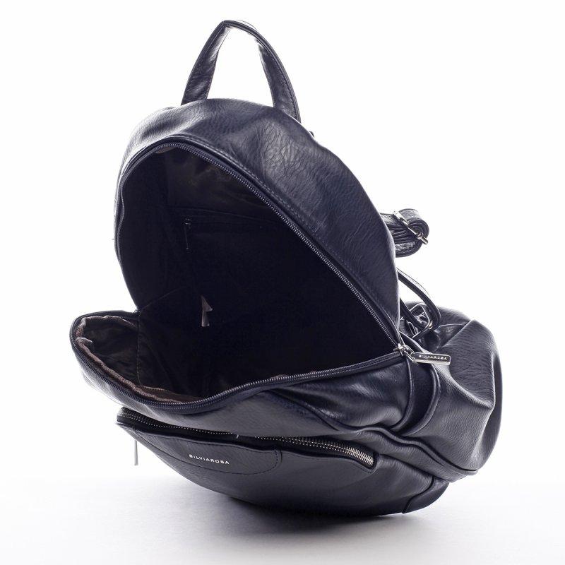 Větší koženkový batůžek Blaise modrá
