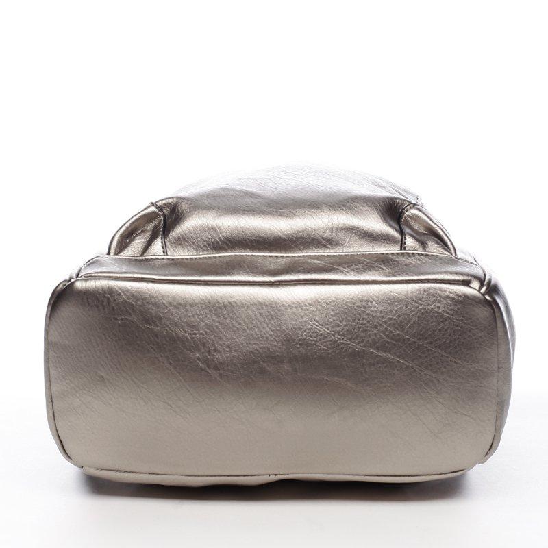 Větší koženkový batůžek Blaise stříbrná