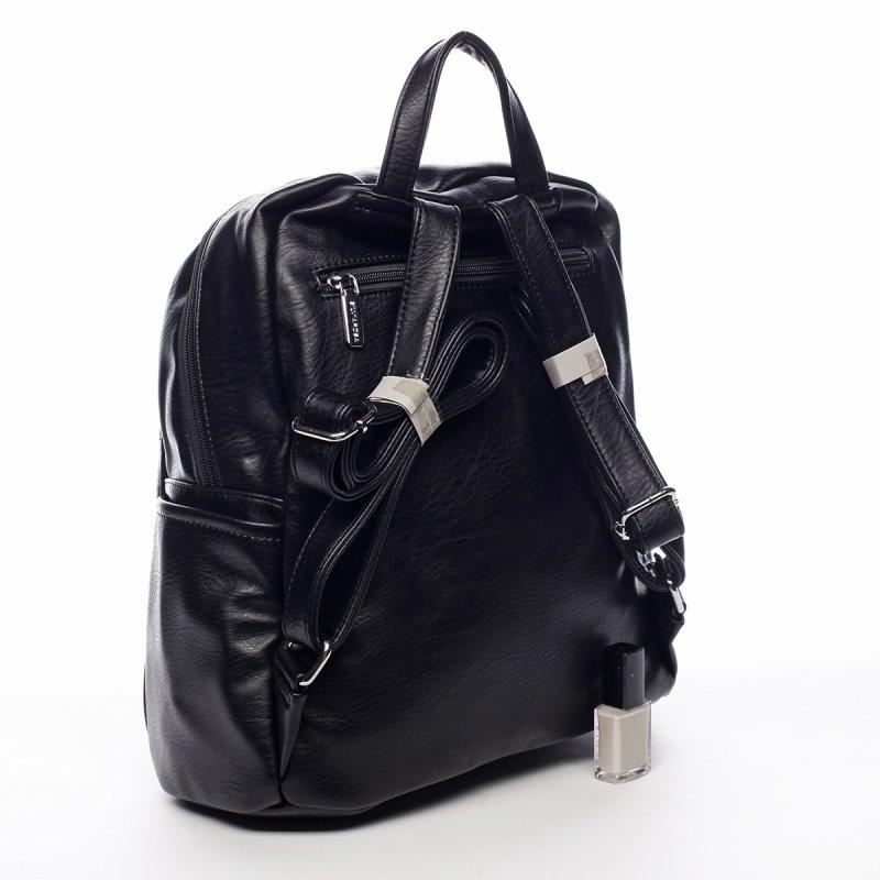 Větší koženkový batůžek Blaise černá