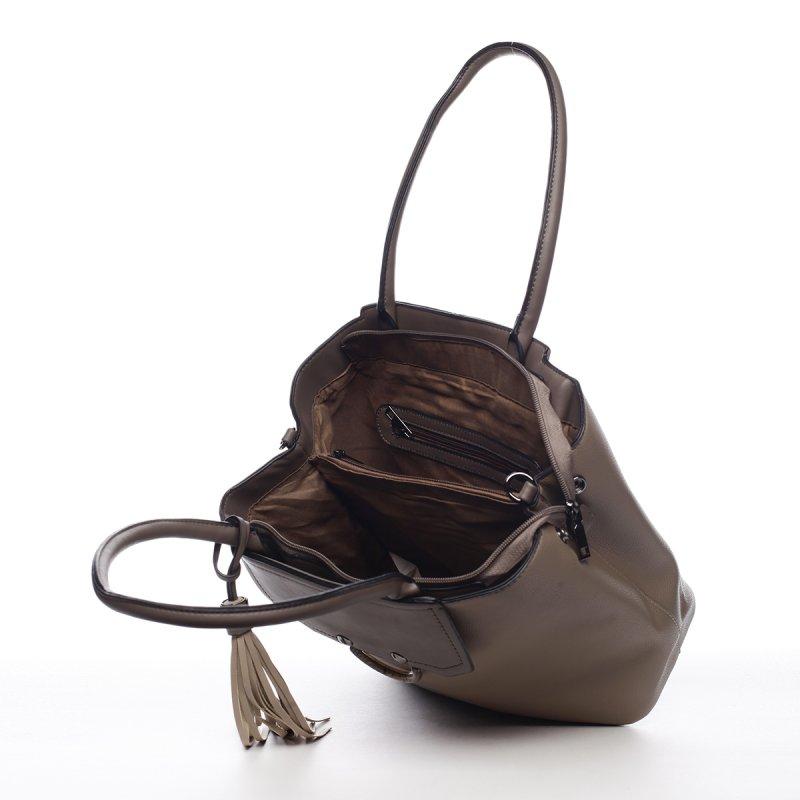 Módní dámská koženková kabelka Agháte zelenošedá