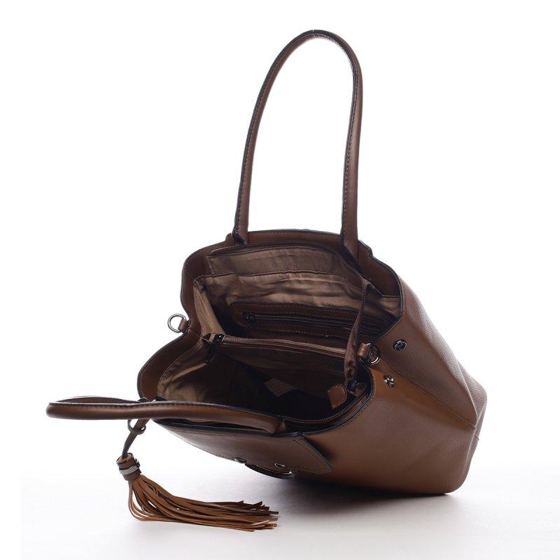 Módní dámská koženková kabelka Agháte hnědá