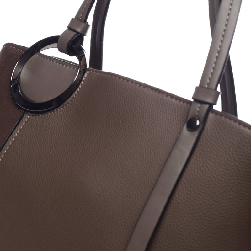 Nepřehlédnutelná dámská koženková kabelka Arnoud tmavě béžová