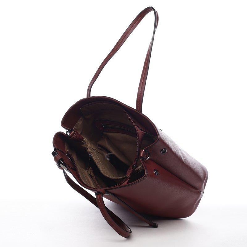 Nepřehlédnutelná dámská koženková kabelka Arnoud vínová
