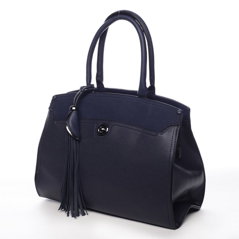Pevný dámský koženkový kufřík Lourdes modrá