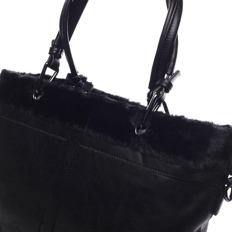 Velká dámská koženková kabelka s kožíškem Onésime černá