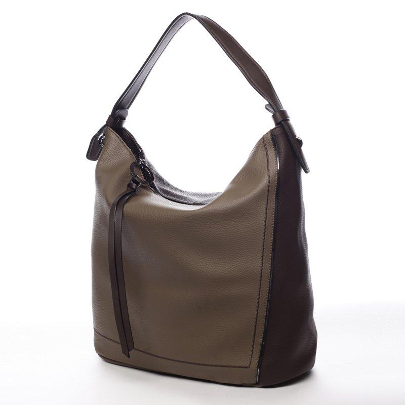 Pohodlná módní dámská koženková kabelka Alexis šedozelená