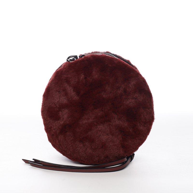 Módní kulatá dámská kabelka s kožíškem Gabin červená