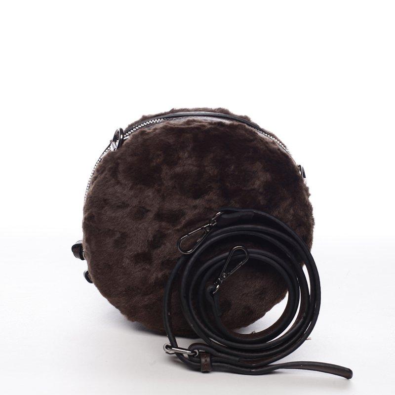 Módní kulatá dámská kabelka s kožíškem Gabin hnědá