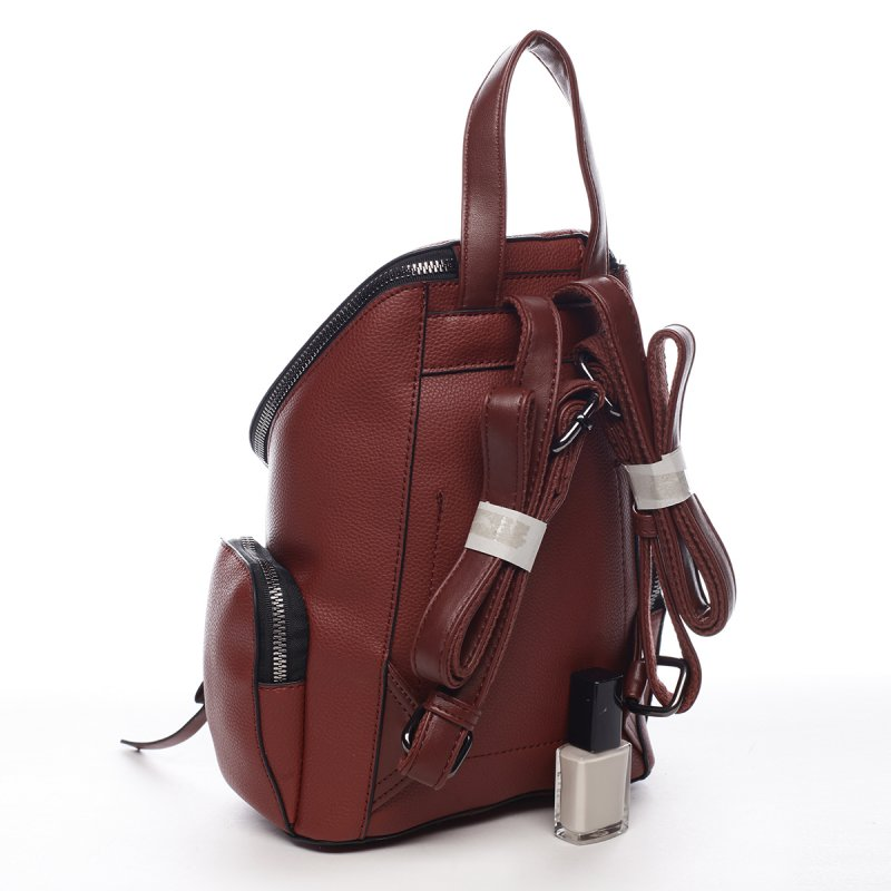 Městský koženkový batůžek Aimee vínová S