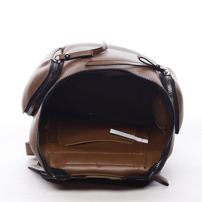 Městský koženkový batůžek Aimee hnědá S