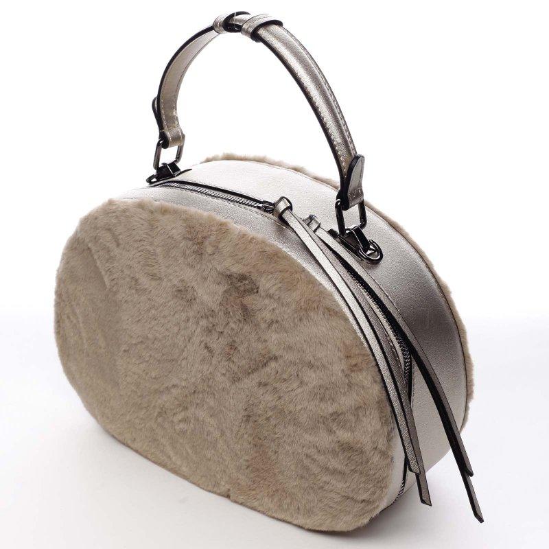 Oválná dámská kabelka do ruky s kožíškem Lazare béžová