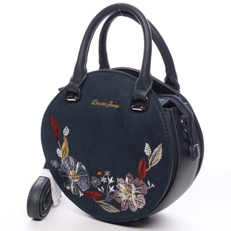 Vyšívaná kulatá dámská kabelka Romeo zelená