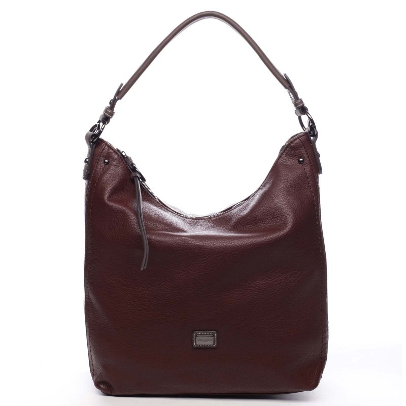 Pohodlná větší dámská taška na rameno Honorie vínová