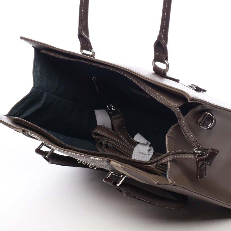 Pevná větší dámská taška s potiskem Romania tmavě béžová