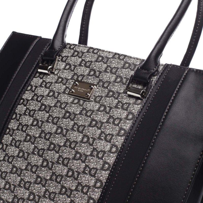 Pevná větší dámská taška s potiskem Romania černá
