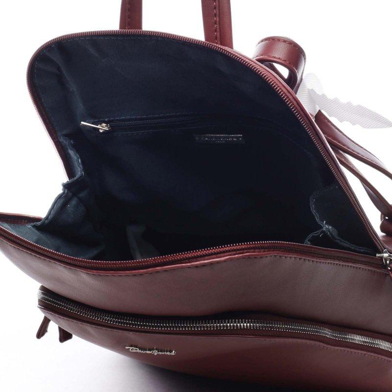 Větší pevný dámská batoh Casimir vínová