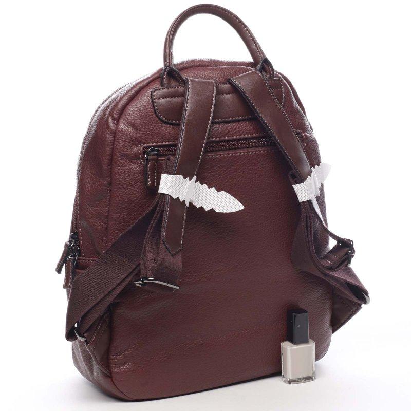 Praktický větší koženkový dámský batoh Olivia vínová