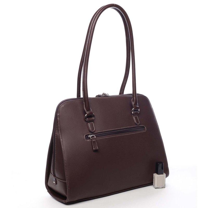 Větší pevná dámská taška s dlouhým uchem Colette vínová