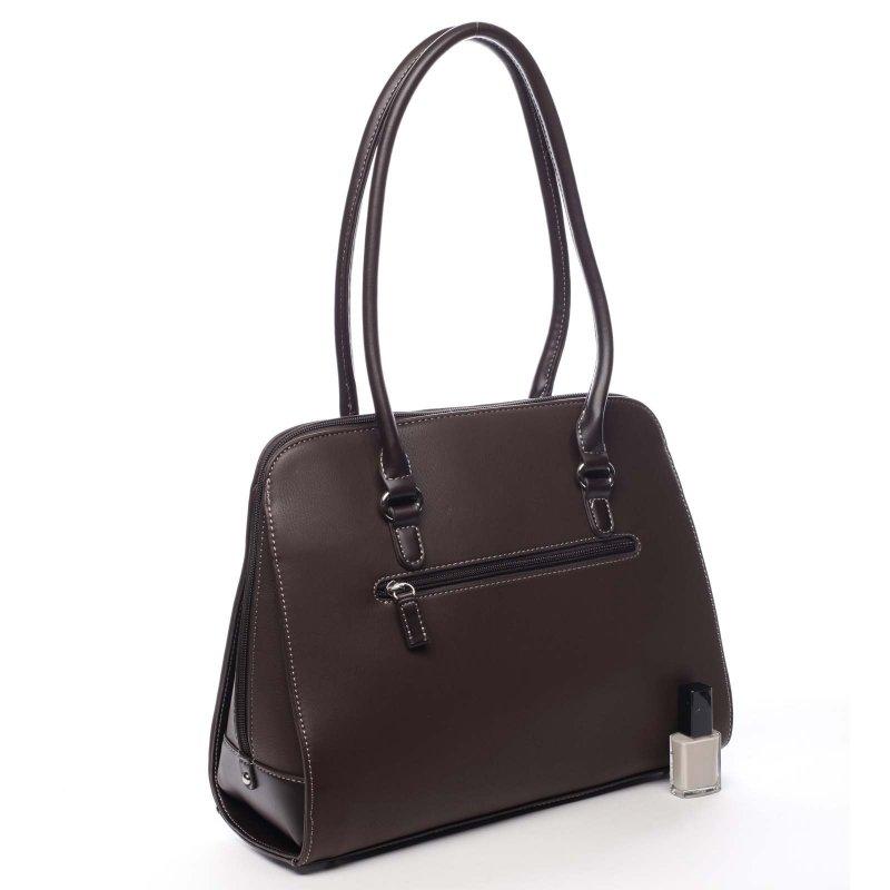 Větší pevná dámská taška s dlouhým uchem Colette tmavě hnědá