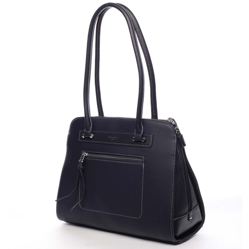 Větší pevná dámská taška s dlouhým uchem Colette modrá